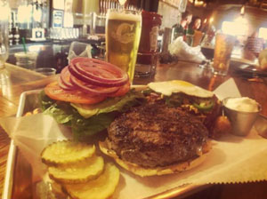 Hamburger and a pint of beer at The S & V Kitchen @ Coppertail
